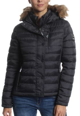 Superdry Jacke Damen FUJI SLIM DOUBLE ZIP HOOD Black Marl – Bild 0