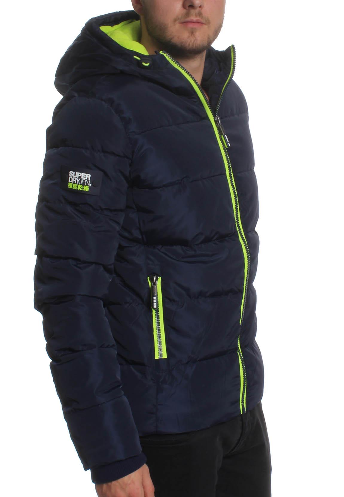 premium selection 6af98 6800f Details zu Superdry Jacke Herren SPORTS PUFFER Navy Lime Punch