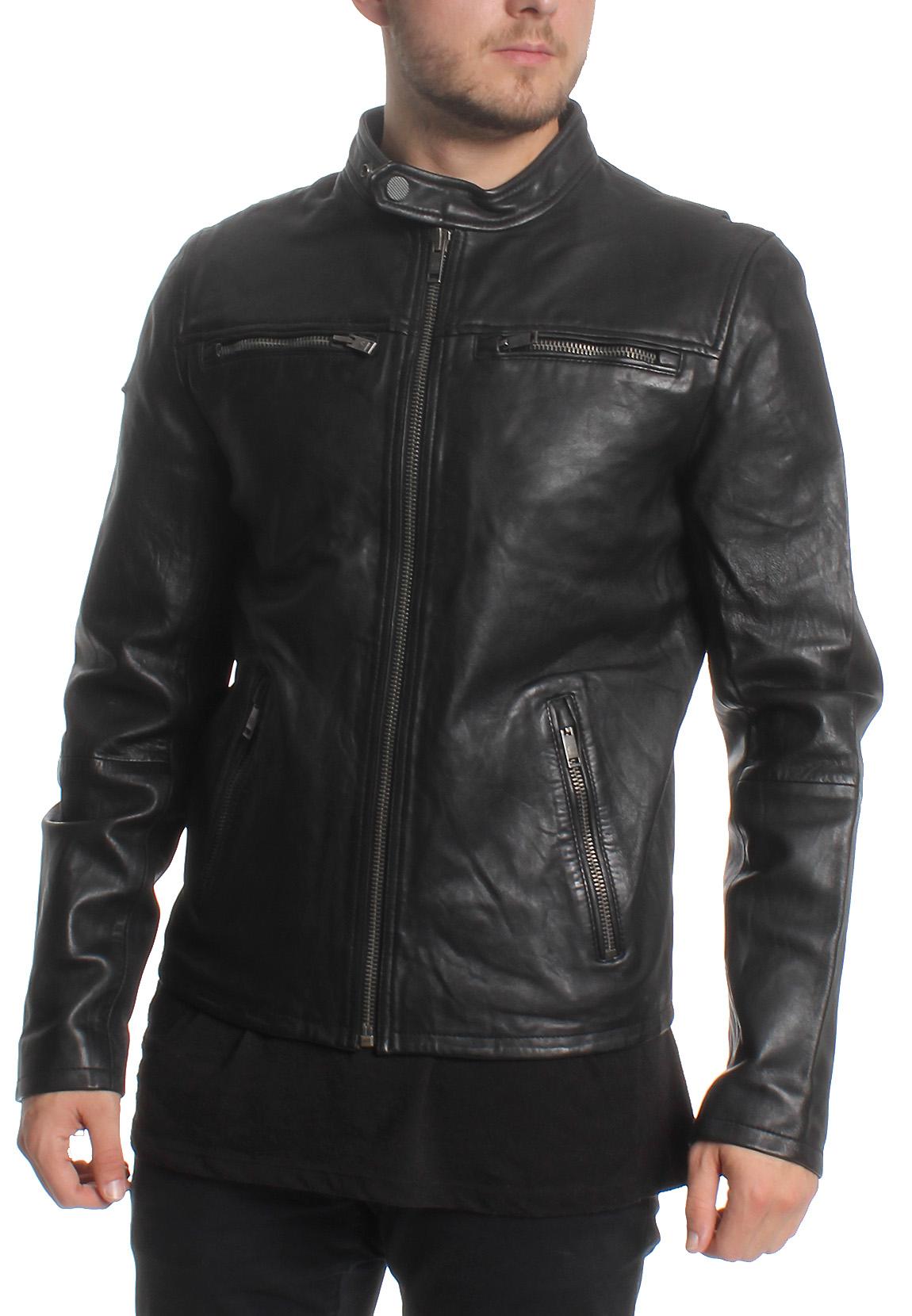 superdry lederjacke herren classic real hero biker black. Black Bedroom Furniture Sets. Home Design Ideas