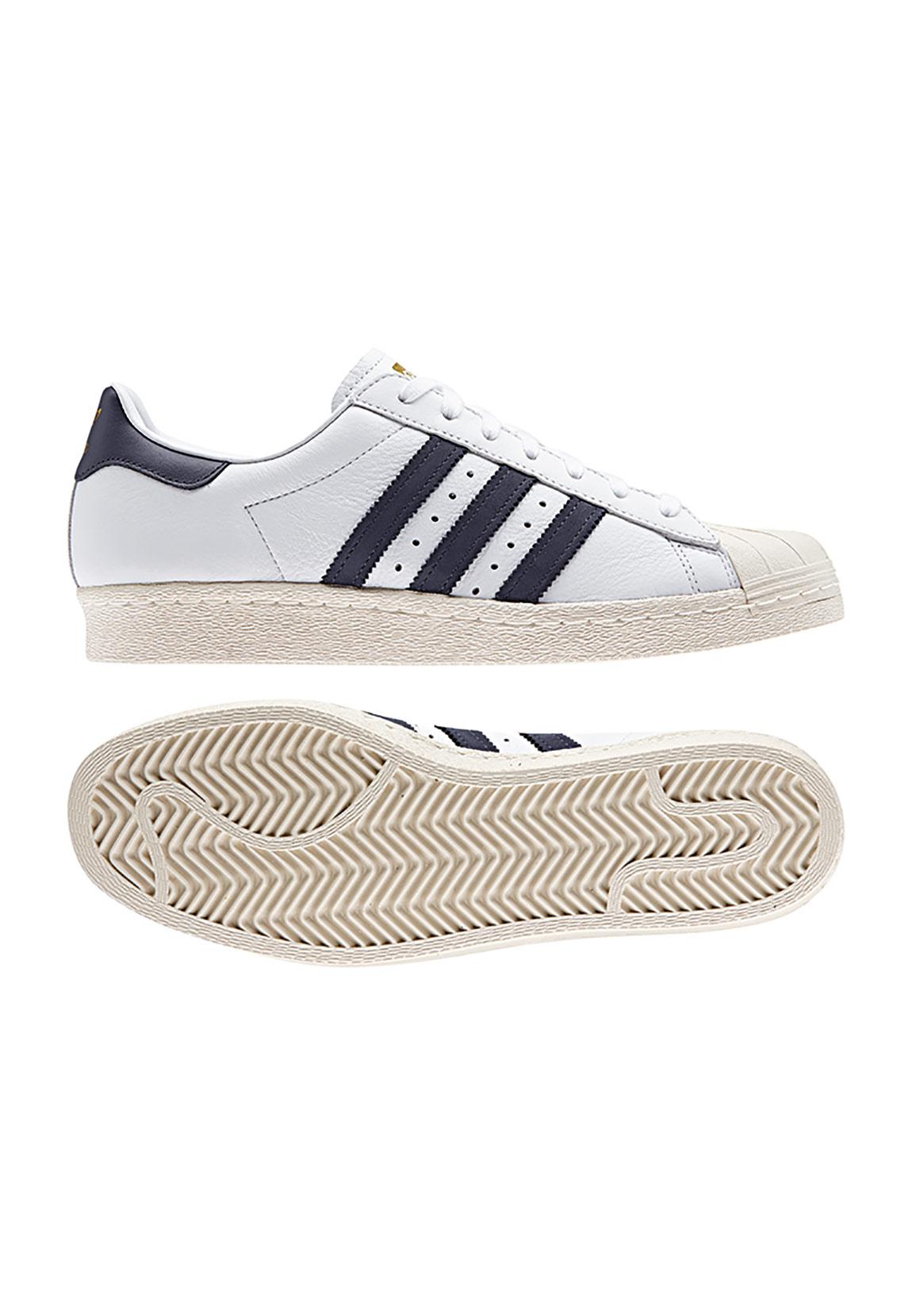 82130365b9b840 Adidas Sneaker SUPERSTAR 80S BZ0145 Weiß Dunkelblau Schuhe Herren