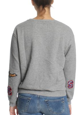 Superdry Sweatshirt Damen VARSITY BADGE CREW Legacy Grey Grindle – Bild 2