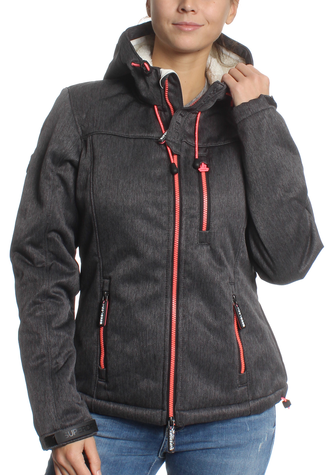 reputable site c99f2 f6138 Superdry Jacke Damen HOODED SHERPA WINDTREKKER Black Grit Candy Pink