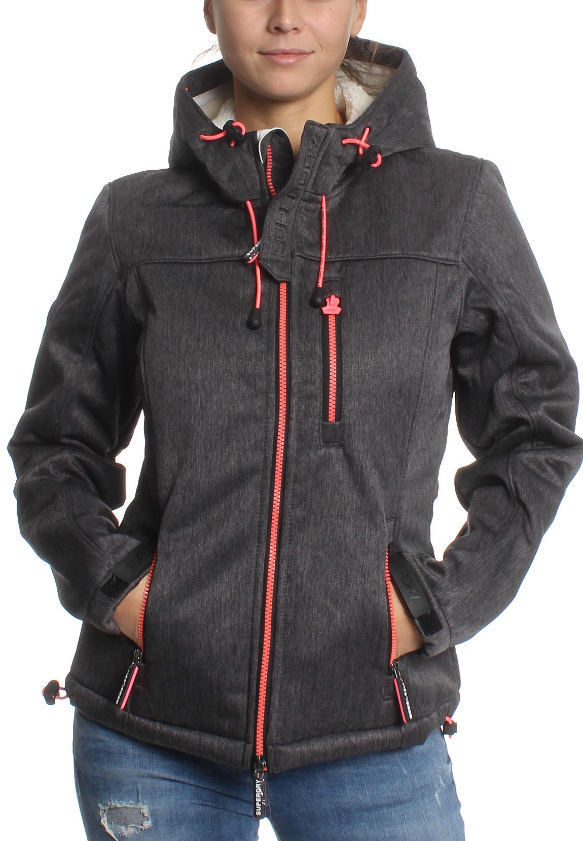 quality design fd0da 41378 Details about Superdry Jacket Women's Hooded Sherpa Windtrekker Black Grit  Candy Pink
