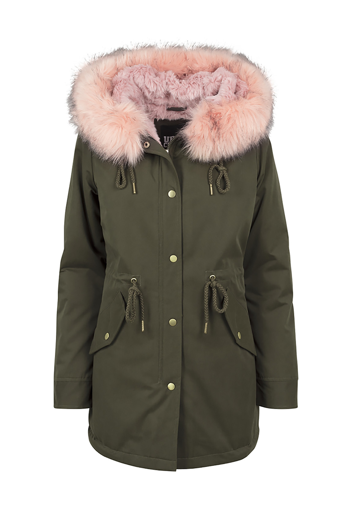 Urban Classics Ladies Peached Teddy Lined Parka TB1763 Darkolive