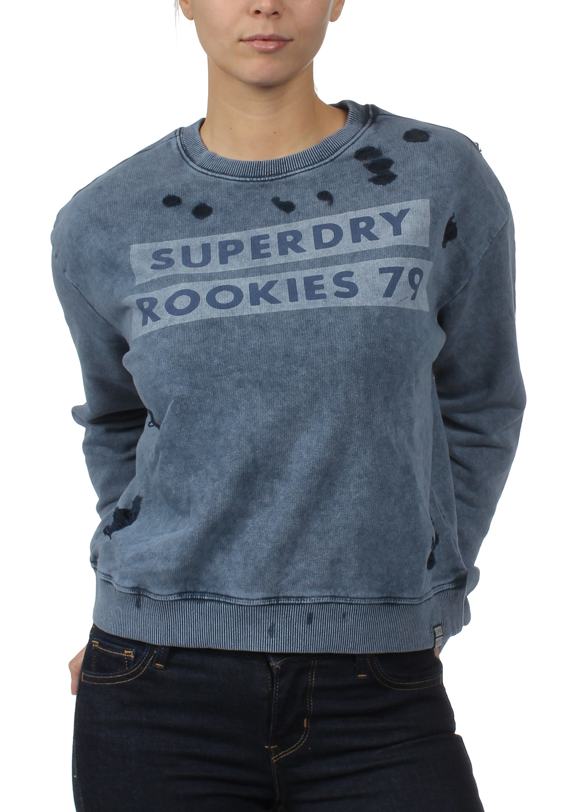 ... Superdry Sweatshirt Damen DISTRESS BOXY SWEAT Fret Blue – Bild 0 ...