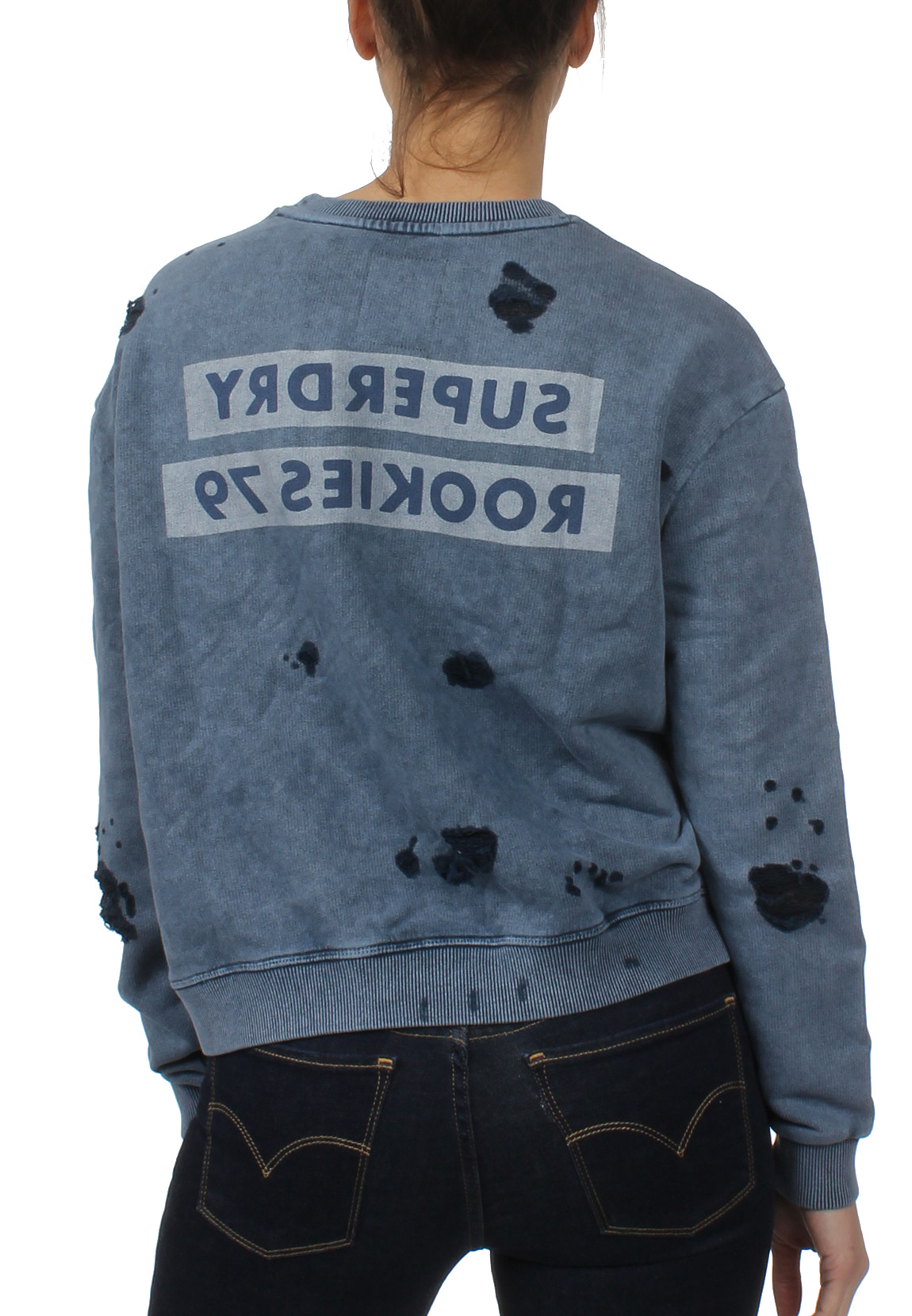 the best attitude 6bd8c 31ccb Details about Superdry Sweatshirt Ladies Distress Boxy Sweat Fret Blue