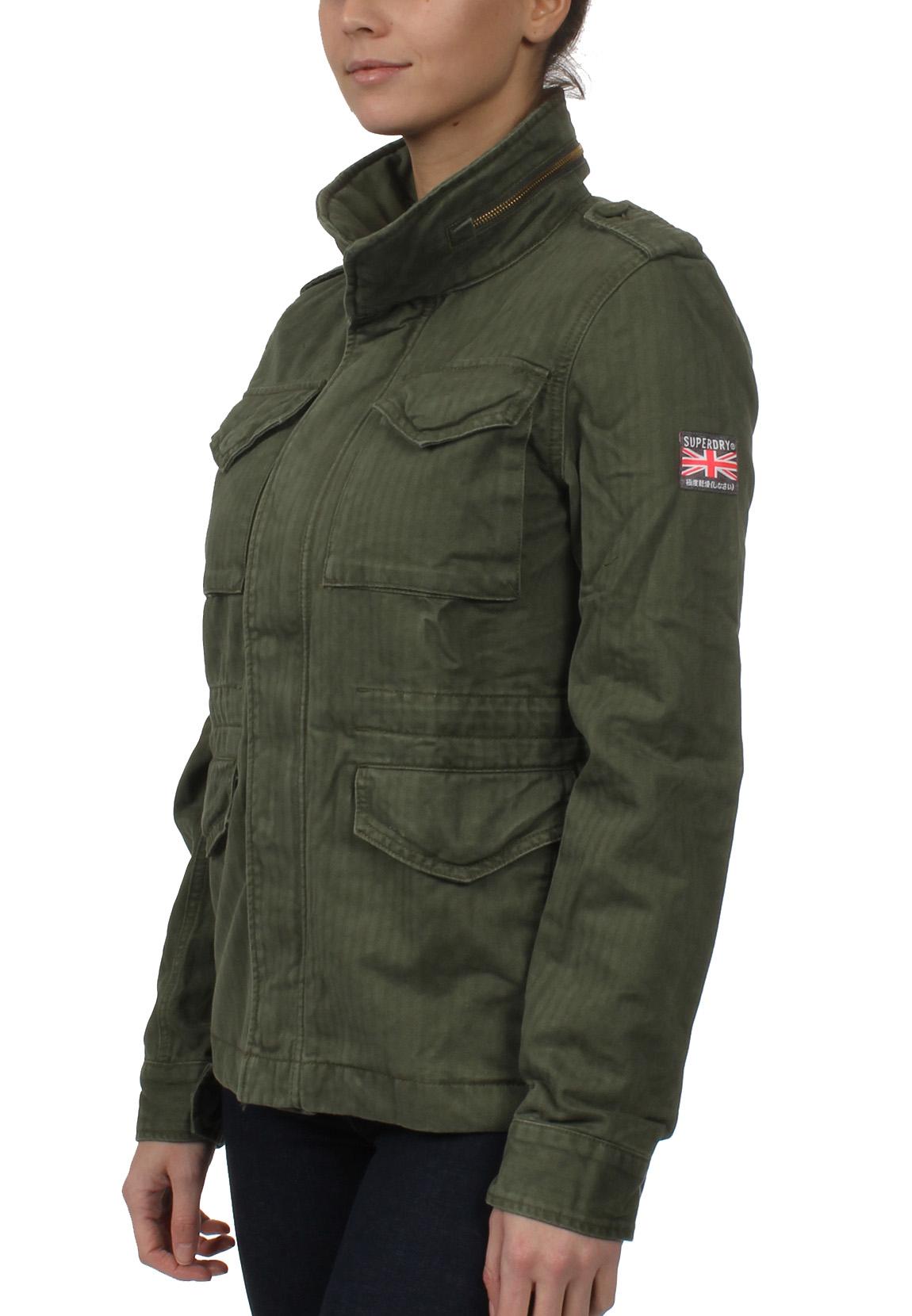 superdry jacke damen rookie classic military jacket troop khaki damen jacken m ntel. Black Bedroom Furniture Sets. Home Design Ideas