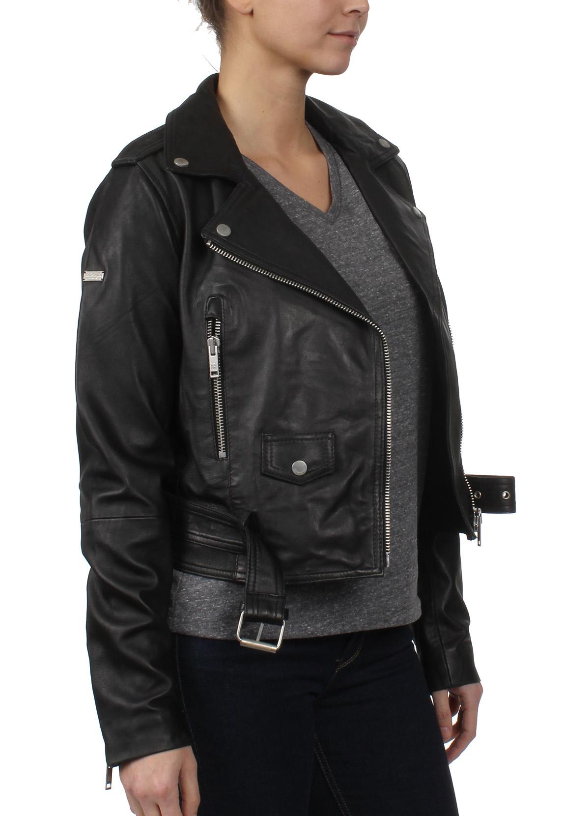 superdry damen lederjacke tier leather biker black damen. Black Bedroom Furniture Sets. Home Design Ideas