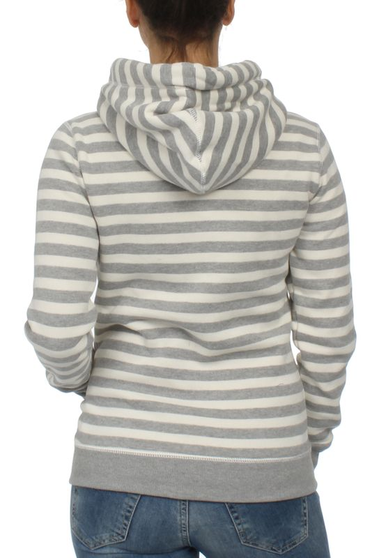 Superdry Zipper Damen APPLIQUE ZIPHOOD Pacific Grey Marl Stripe – Bild 1