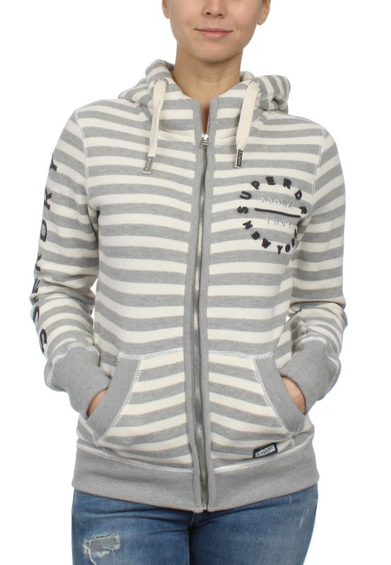Superdry Zipper Damen APPLIQUE ZIPHOOD Pacific Grey Marl Stripe – Bild 0