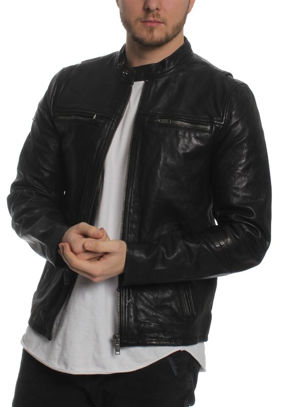 Superdry Herren Lederjacke REAL HERO LEATHER BIKER Black – Bild 0