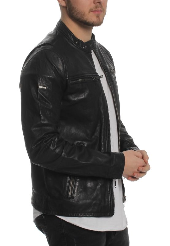 Superdry Herren Lederjacke REAL HERO LEATHER BIKER Black – Bild 3