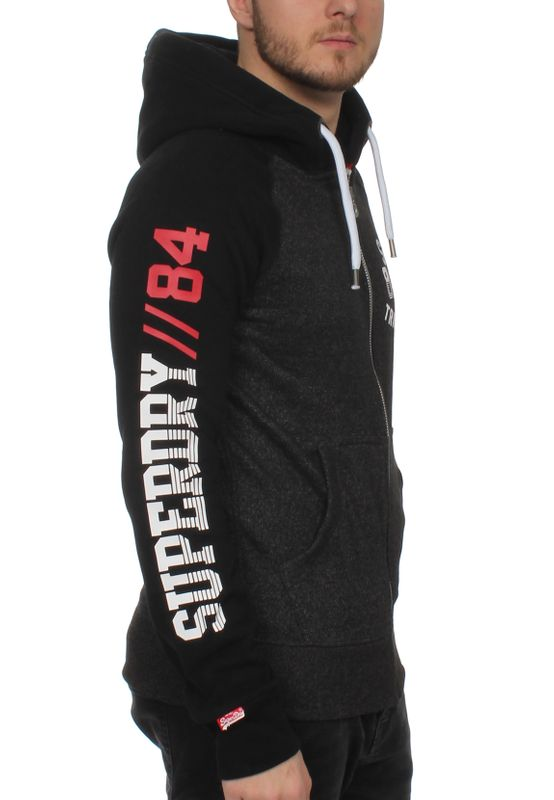 Superdry Herren Zipper TRACKSTER BASEBALL ZIPHOOD Black Field Grit Jet Black – Bild 1