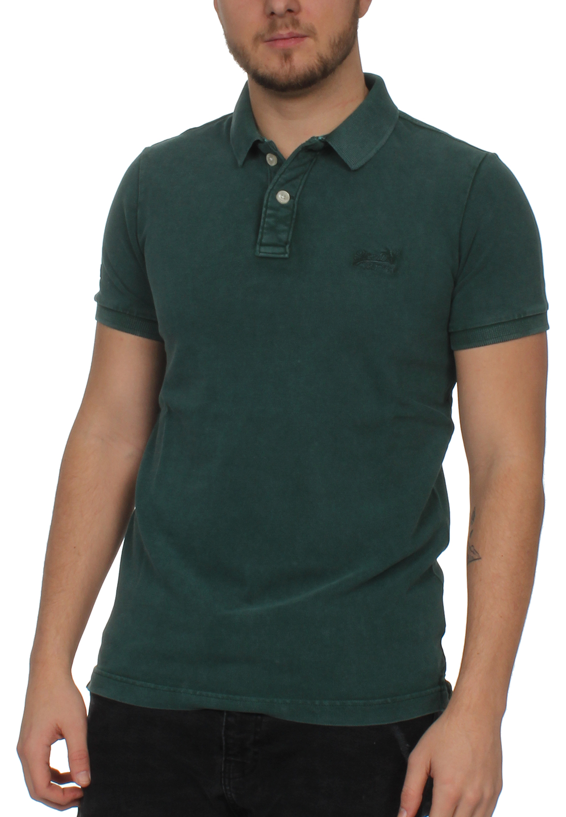 46949c8784d59f Superdry Mens Polo Vintage DESTROY SS Pique Polo Royal Green | eBay