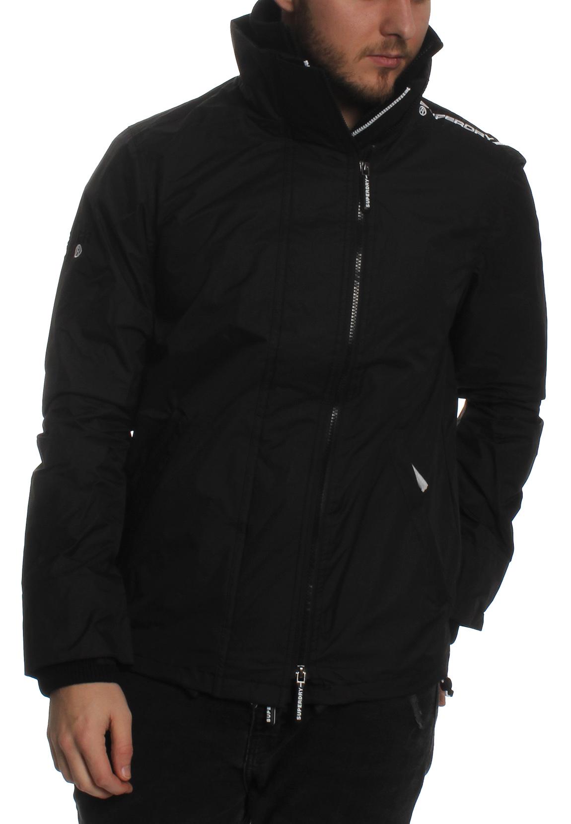 new styles 4c547 5abc3 Superdy Jacke Herren TECHNICAL POP ZIP WINDCHEATER Black Optic White