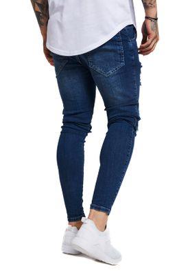 SikSilk Herren Jeans SKINNY DISTRESSED DENIM SS-12996 Mittelblau Midstone – Bild 2