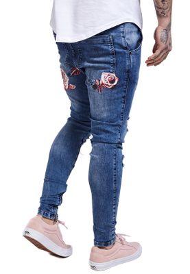 SikSilk Herren Jeans FLORAL SPRING HAREEM JEANS SS-12210 Blau Midstone – Bild 2