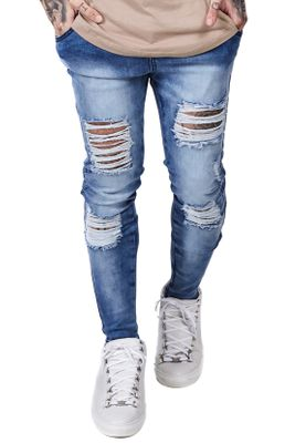 SikSilk Herren Jeans SKINNY DISTRESSED DENIM SS-12460 Mittelblau Acid Wash – Bild 0