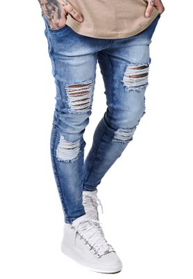 SikSilk Herren Jeans SKINNY DISTRESSED DENIM SS-12460 Mittelblau Acid Wash – Bild 1