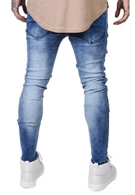 SikSilk Herren Jeans SKINNY DISTRESSED DENIM SS-12460 Mittelblau Acid Wash – Bild 2