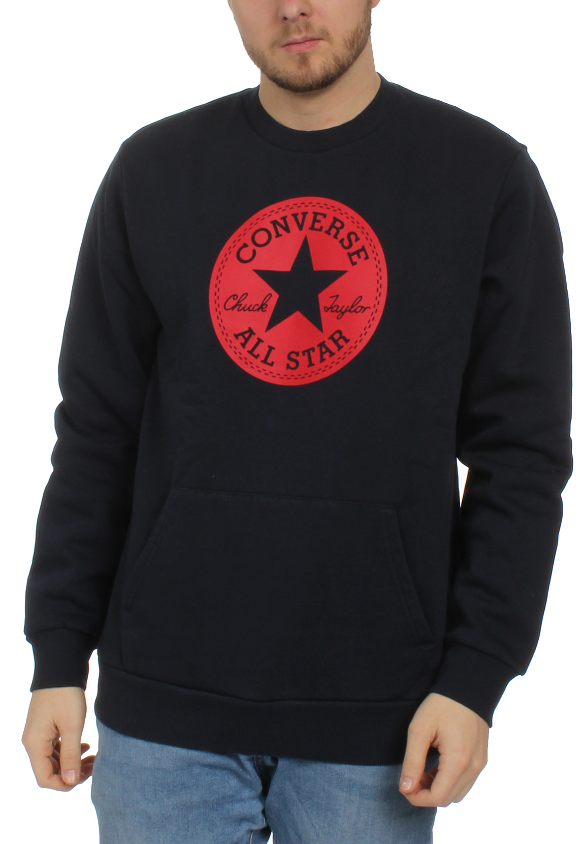 Details about Converse Men's Sweater Chuck Patch Graphic Crew 10005825 424 Navy
