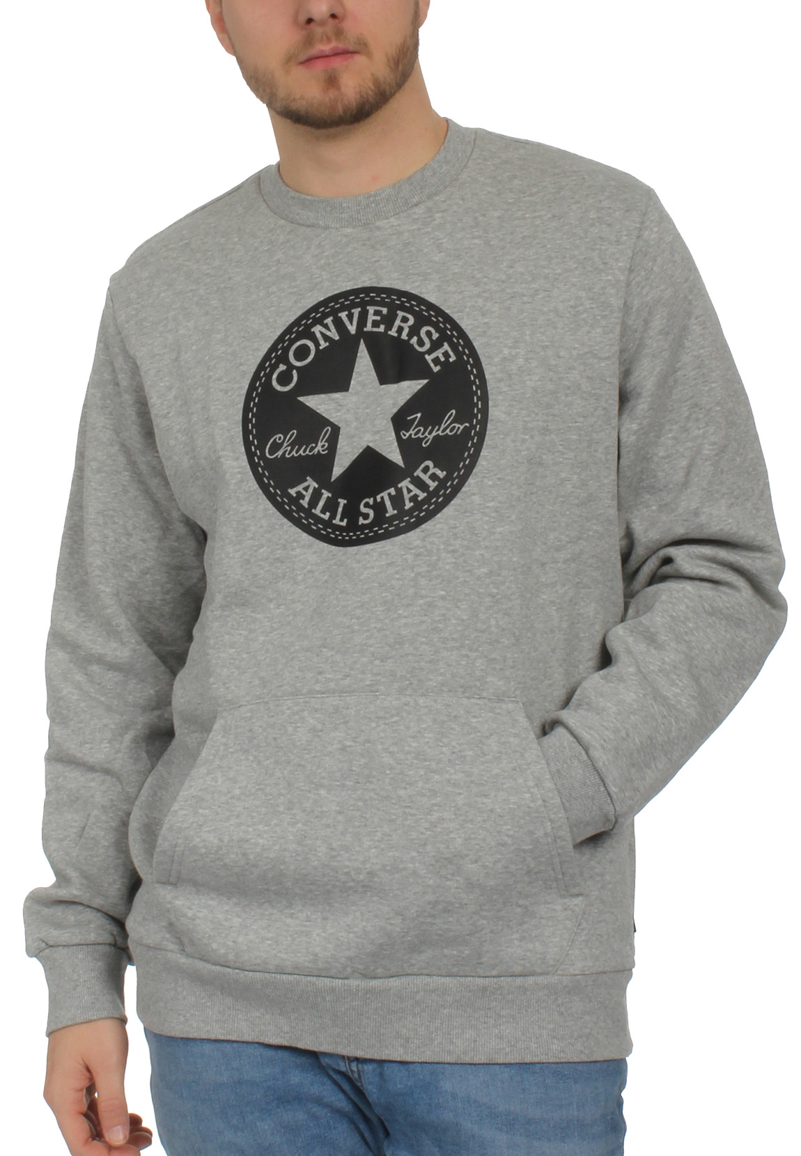 Details about Converse Men's Sweater Chuck Patch Graphic Crew 10005825 035 Grey