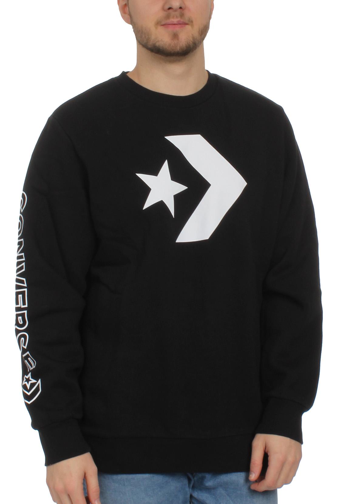Details about Converse Men's Sweater Star Chevron Graphic Crew 10006434 001 Black