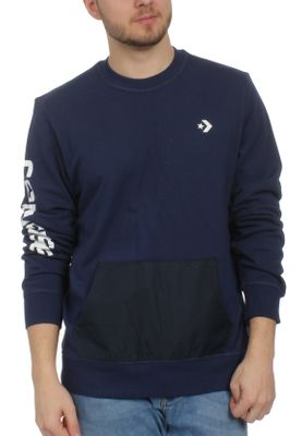 Converse Herren Sweater MIXED MEDIA CREW 10004682 471 Navy – Bild 0