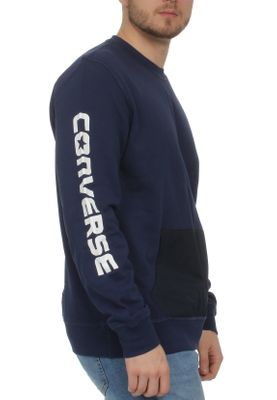 Converse Herren Sweater MIXED MEDIA CREW 10004682 471 Navy – Bild 1
