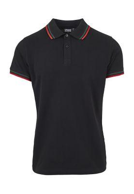 Urban Classics Herren Double Stripe Poloshirt TB2063 Black Green Firered – Bild 0