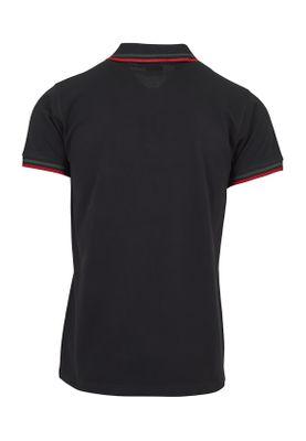 Urban Classics Herren Double Stripe Poloshirt TB2063 Black Green Firered – Bild 1