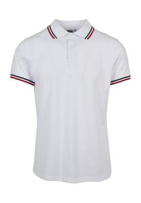 Urban Classics Herren Double Stripe Poloshirt TB2063 White Green Firered – Bild 0
