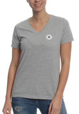 Converse Damen T-Shirt CORE TRIBLEND TPU VNECK TEE 10006443 022 Light Grey Heather – Bild 0