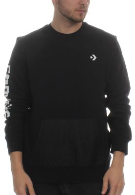Converse Herren Sweatshirt MIXED MEDIA CREW 10004682 001 Black – Bild 0
