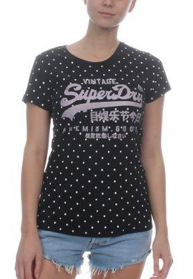Superdry T-Shirt Damen VINTAGE LOGO AOP Black Polka Dot – Bild 0