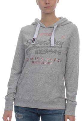 Superdry Sweater Damen VINTAGE LOGO LITE STNE ENTRY HOOD Palm Grey Marl – Bild 0