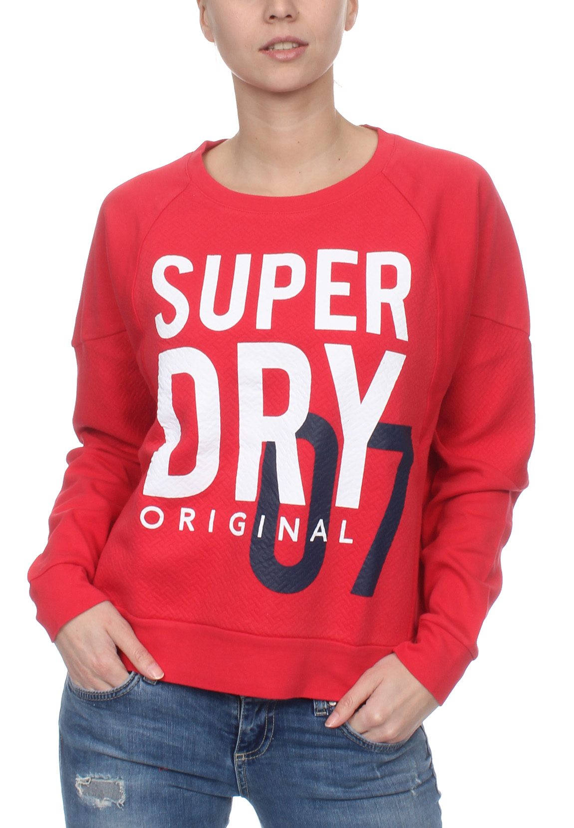 brand new eefbd 88992 Superdry Sweatshirt Damen SD DIMENSIONAL PANELLED CREW Flare Red