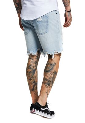 SikSilk Jeans Short DISTRESSED DENIM SHORTS SS-13217 Blue Denim – Bild 2