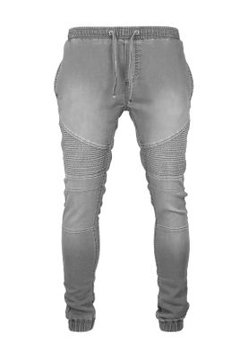 Urban Classics Biker Denim Jogpants TB1877 Grey – Bild 0