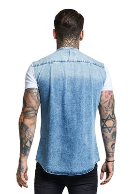 SikSilk T-Shirt SS JERSEY GRANDAD COLLAR WASHED DENIM SS-13295 Denime Blue White   – Bild 1