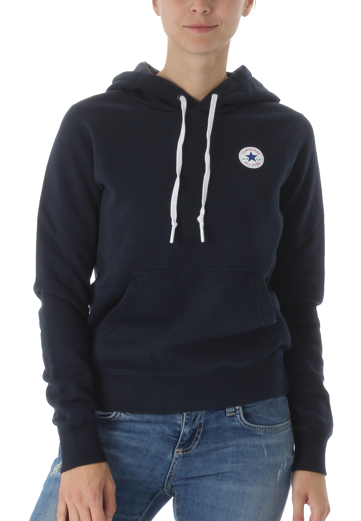f1ed2bfece7fb Details about Converse Sweater Ladies Core Hoodie 10004543 Dark Blue 424
