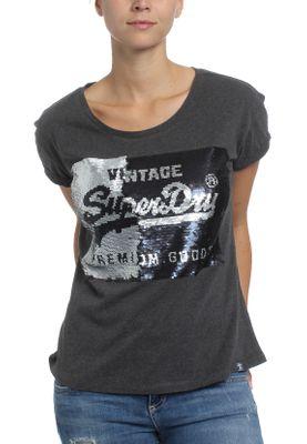 Superdry Damen T-Shirt PREMIUM SEQUIN SLIM BF TEE Charcoal Marl – Bild 1