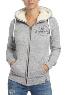 Superdry Damen Zipper ARIA APPLIQUE ZIPHOOD Slate Grey Marl – Bild 0