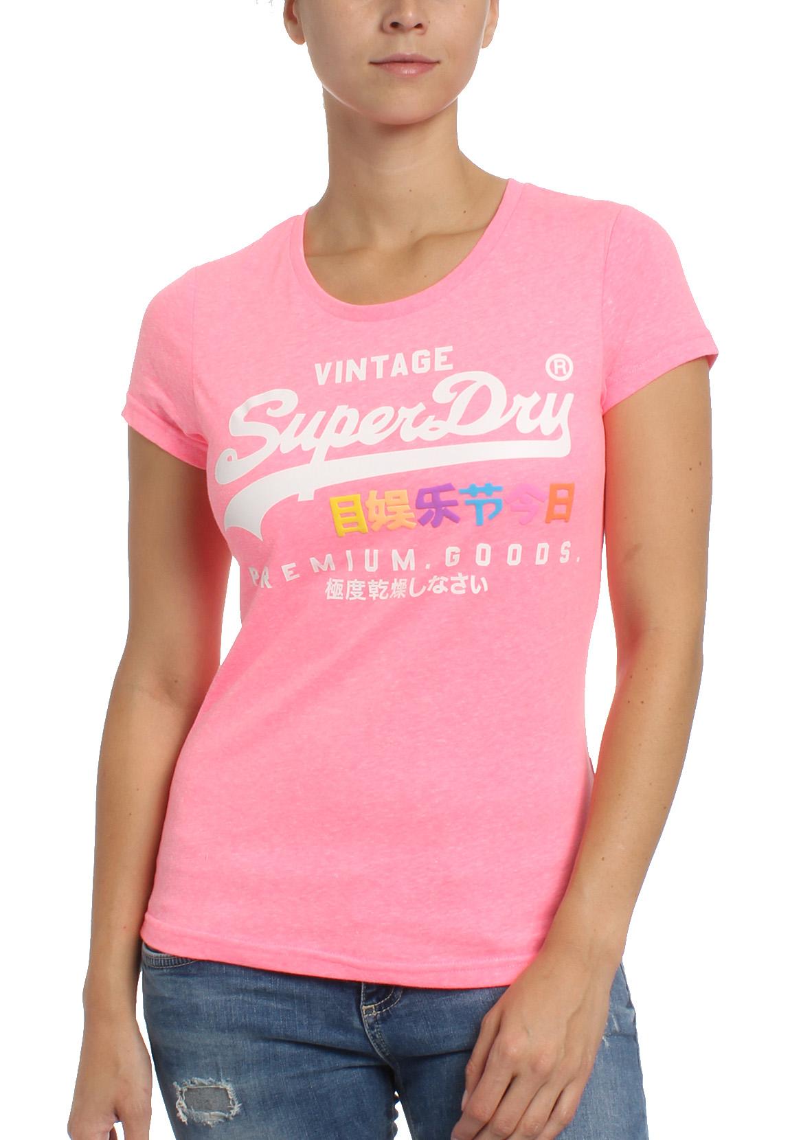 best service 093e6 05cf3 Superdry Damen T-Shirt PREMIUM GOOD PUFF ENTRY TEE Neon Pink Snowy