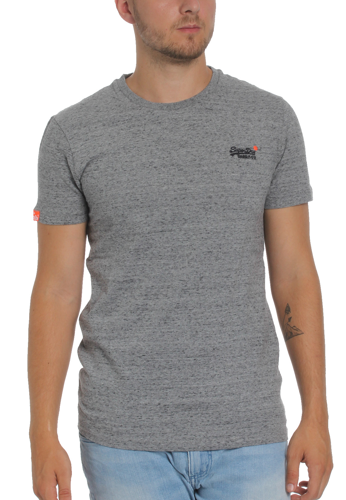 Superdry Herren T Shirt ORANGE LABEL VNTGE EMB SS TEE Steel Grit Grau