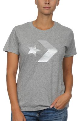 Converse T-Shirt Damen STAR CHEVRON METALLIC CREW TEE 10007046 Grey 035 – Bild 0