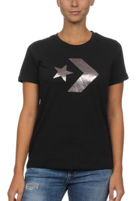 Converse T-Shirt Damen STAR CHEVRON METALLIC CREW TEE 10007046 Black 001 – Bild 0