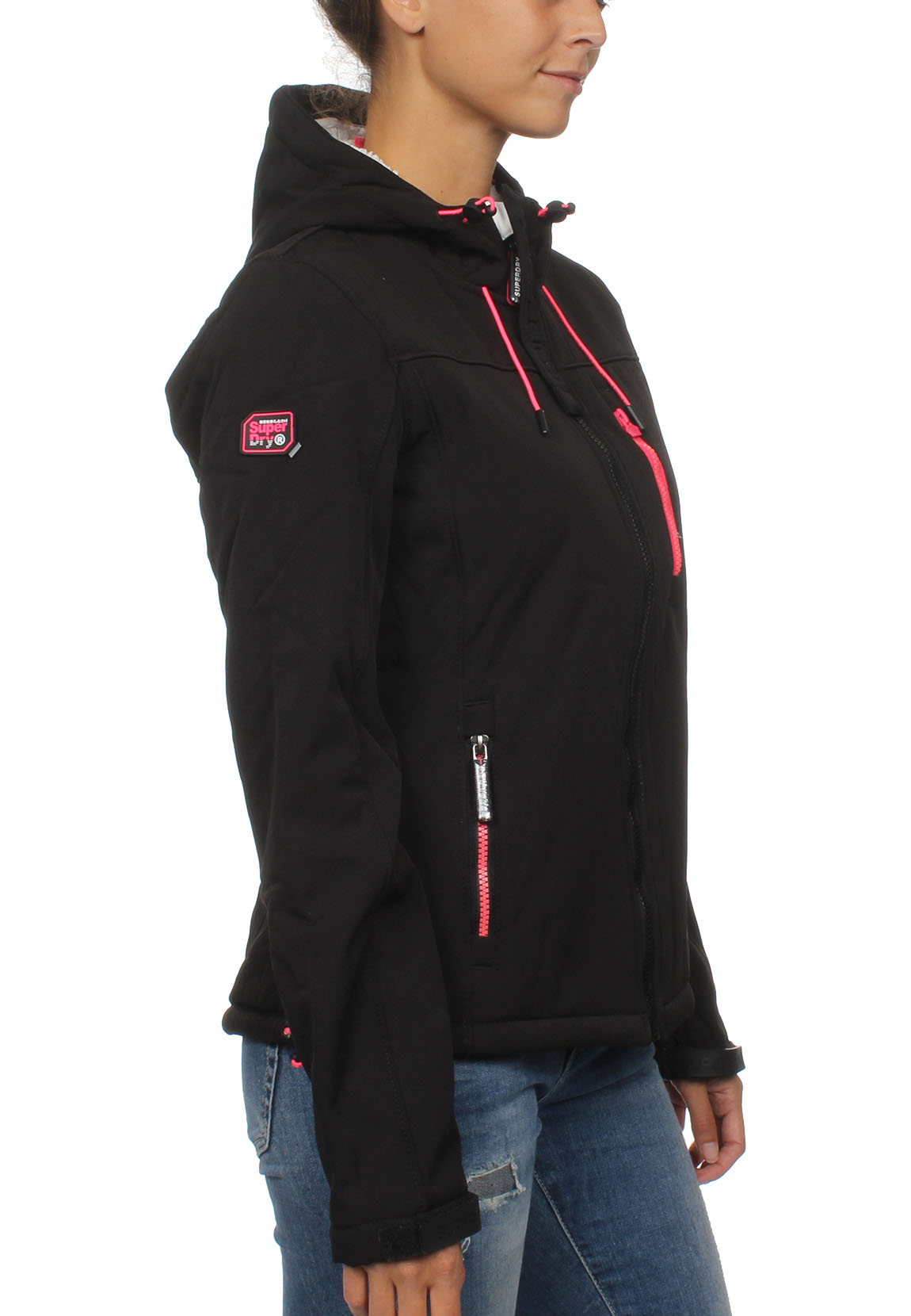 promo code cde09 08496 Superdry Jacke Damen HOODED WINTER WINDTREKKER Black Fluro Pink