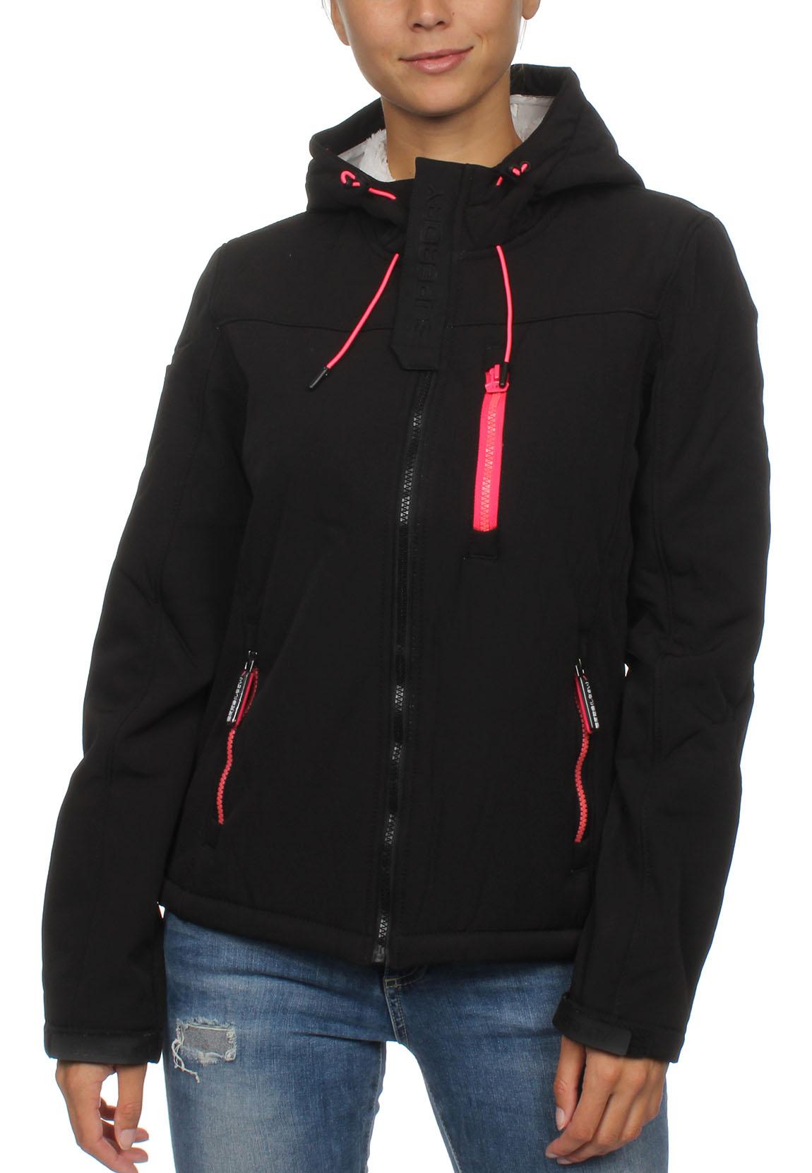 Windtrekker Winter Damen Hooded Fluro Superdry Jacke Black UqSVLzMpG