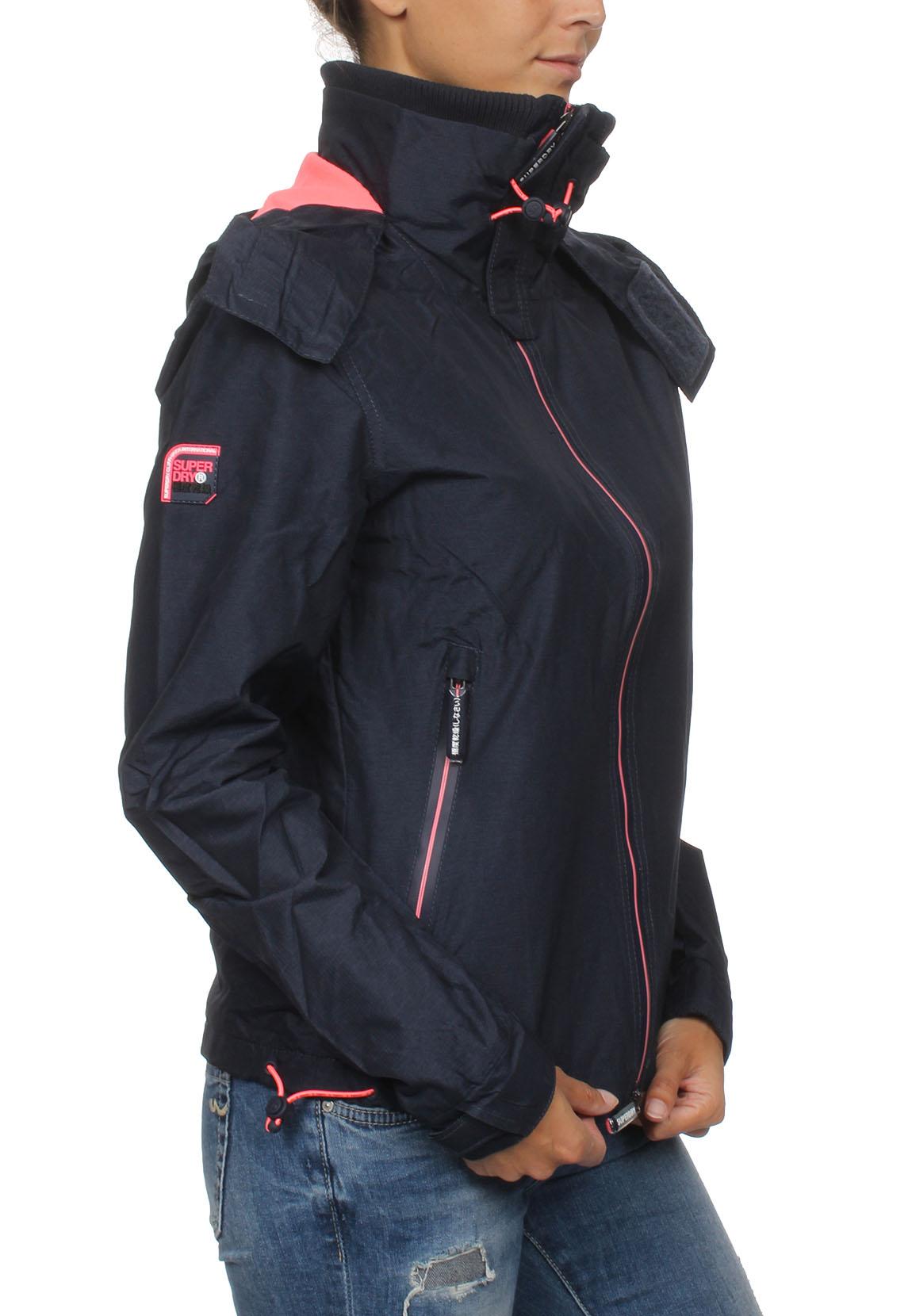 new style 48df0 8d1cb Superdry Damen Jacke ARCTIC HOOD CLIFF HIKER New Navy Marl Coral Blush